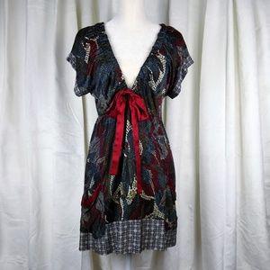 Hale Bob 100% Silk Deep V-Neck Print Dress